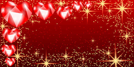 Holiday illustration with hearts and stars on red background. 向量圖像