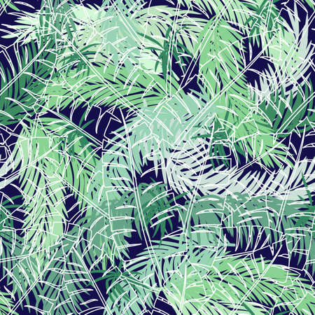 Abstract seamless pattern with palm leaves on dark background.