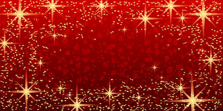 Bright festive red background with shining stars.