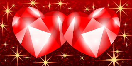 Illustration with two red hearts on a starry background. 向量圖像