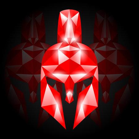 Illustration of red Spartan helmet on black background.