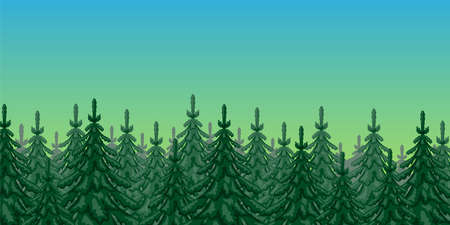 Illustration of nature with spruce forest against the sky. 向量圖像