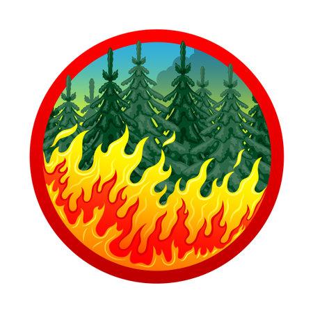 Round burning forest icon on white background.