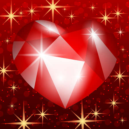 Illustration with red ruby heart on red starry background. 向量圖像