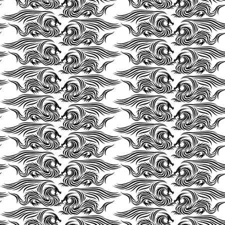 Seamless pattern with abstract dragons on white background.