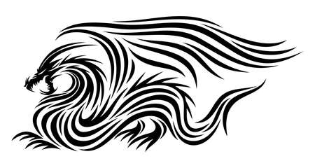 Black dragon icon with wings on white background. 向量圖像