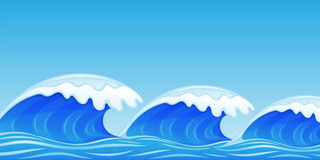 Illustration with blue water waves against the sky. 向量圖像