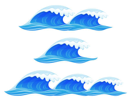 Set with blue water waves on white background. 向量圖像