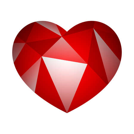 Illustration of red love heart on white background.