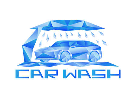 Abstract car wash icon on white background.