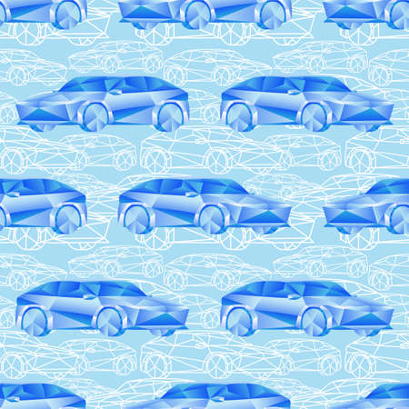 Seamless pattern with blue cars on a blue background.