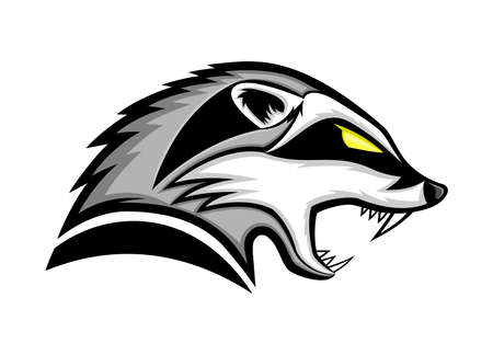 Illustration with angry badger icon on white background.