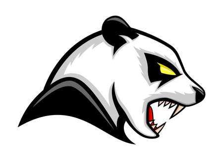 Illustration with panda bear icon isolated on white background. Ilustração