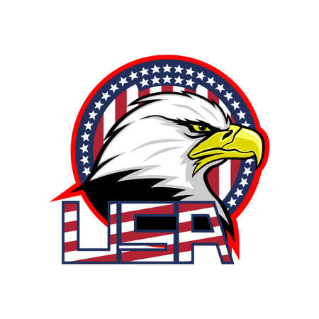 Badge with American eagle and USA flag on white background.