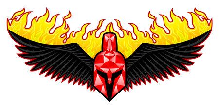 Spartan helmet icon with fiery wings on white background. Ilustração