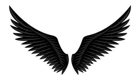 Illustration of two black wings on a white background.