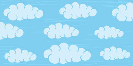 Horizontal illustration with clouds in the blue sky.