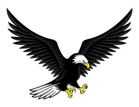 Flying bald eagle icon isolated on white background.