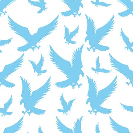 Seamless pattern with blue flying birds eagles on white Ilustração