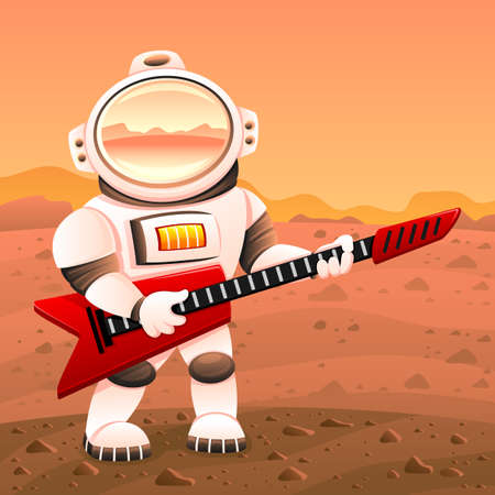 Illustration of an astronaut with a red guitar on the planet Mars.