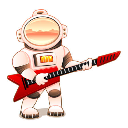 Astronaut with red guitar on white background.