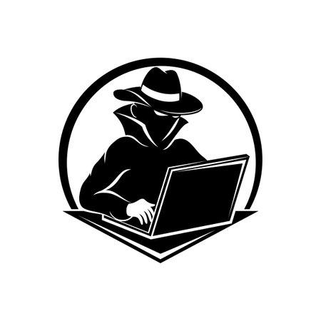 Hacker icon with laptop on white background. Ilustração