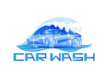 Blue car wash icon on white background.