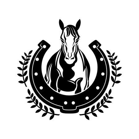 Horse and horseshoe icon on white background.