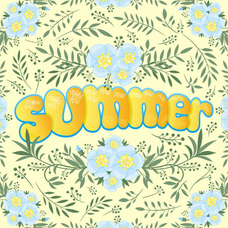Summer illustration with flowers and plants on yellow background.