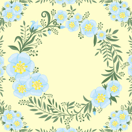 Summer illustration with round floral frame on yellow background.