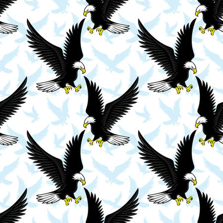 Seamless pattern with flying bald eagles on a white background.