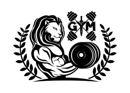 Gym icon with lion on white background.