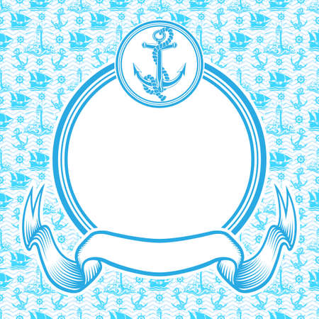 Nautical banner with round blue frame with anchor and ribbon. Ilustração