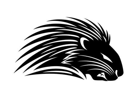 Illustration with angry porcupine icon on white background.