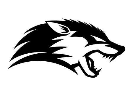 Illustration with angry wolf icon isolated on white background.
