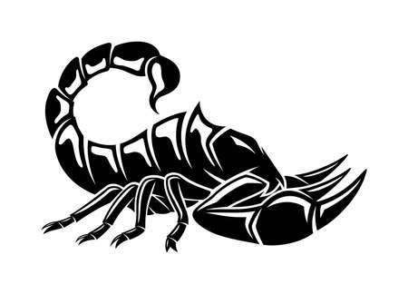Illustration with angry scorpion icon isolated on white background. Ilustración de vector