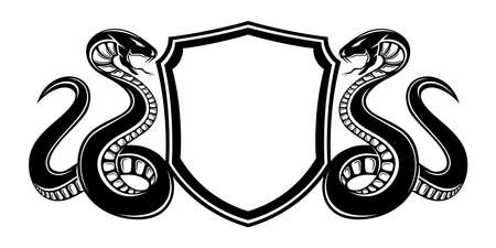 Illustration with two snakes and a shield on a white background.
