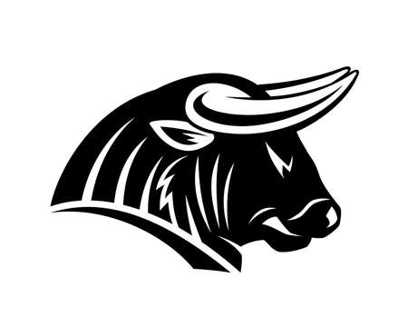 Illustration with angry bull icon isolated on white background.