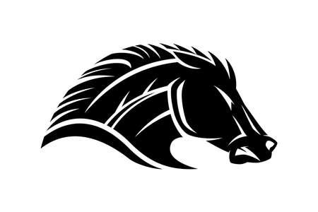 Illustration with angry horse icon isolated on white background. Ilustração
