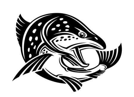 Illustration with fish icon on white background. Ilustração