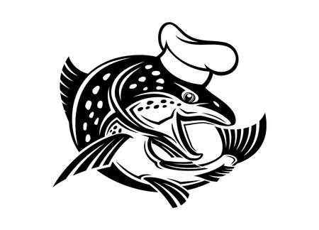 Illustration with fish icon in chefs hat isolated on white background.