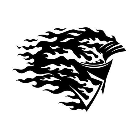 Fiery spartan helmet icon on white background.