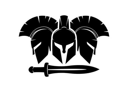 Three spartan helmet and sword icon on white background.