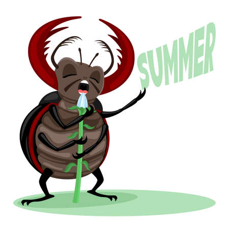 Illustration with insect beetle singing a song about summer on a white background.