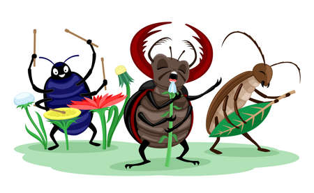 Illustration with musical group of insect beetles on white background.
