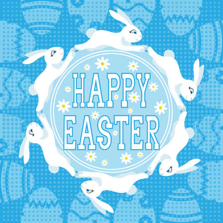 Happy Easter banner with Easter bunnies on blue background.