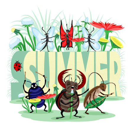 Summer illustration with musical group of insects beetles and butterflies on white background.