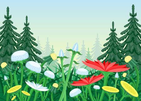 Nature illustration with flower meadow in coniferous forest. Ilustração