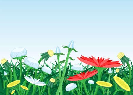 Illustration with grass and flowers on a blue sky background. Ilustração
