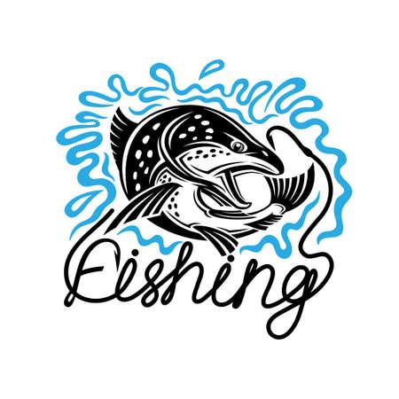 Illustration with fishing icon on white background.
